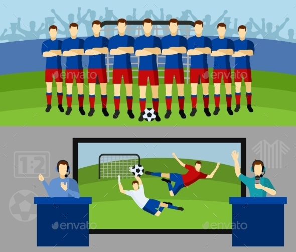 Soccer Team 2 Flat Banners Set - Sports/Activity Conceptual