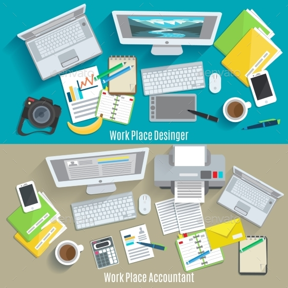 Work Place Banner Set - Business Conceptual