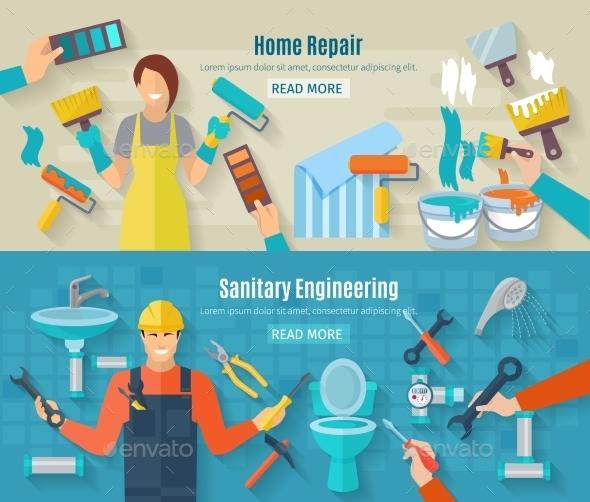 Home Repair Banner Set - Miscellaneous Vectors