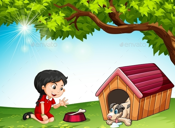 Little Girl Feeding a Pet Dog - People Characters