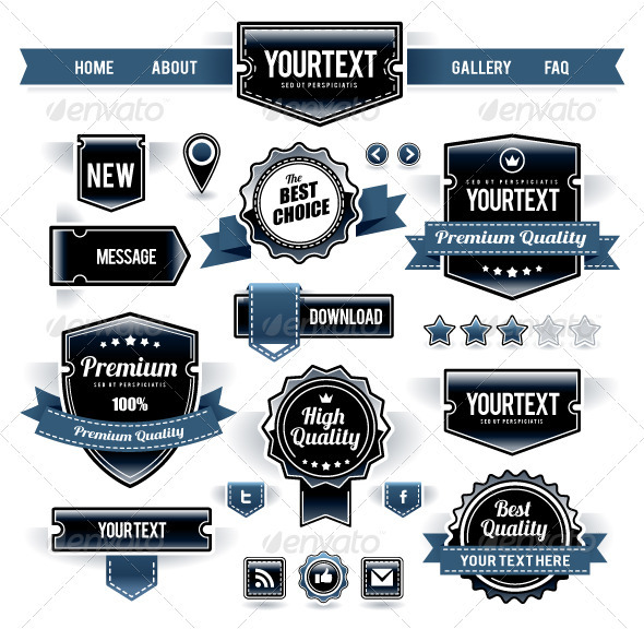 Vector Set of Retro Labels, Buttons and Icons - Web Elements Vectors