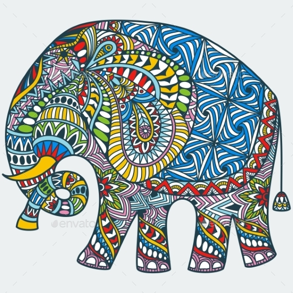 Vector Color Decorated Indian Elephant - Patterns Decorative