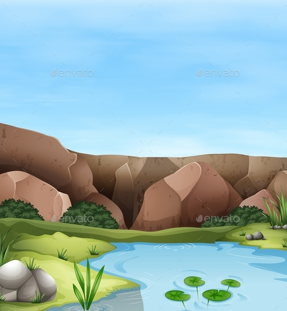 Scene of Cliff and Pond - Nature Conceptual