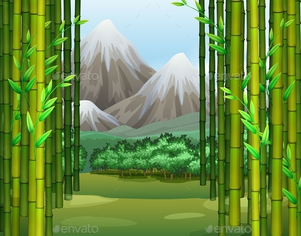 Bamboo Jungle with Mountains Background - Nature Conceptual