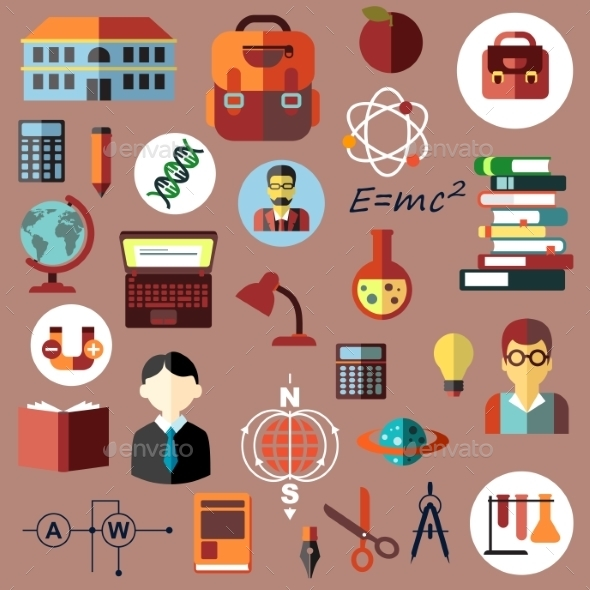 Education, School And Science Flat Icons - Objects Vectors