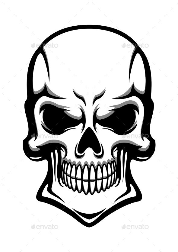 Danger Human Skull With Eerie Grin - Tattoos Vectors