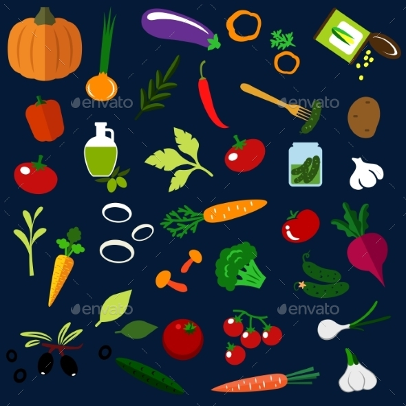 Natural Ripe Vegetables Flat Icons - Food Objects