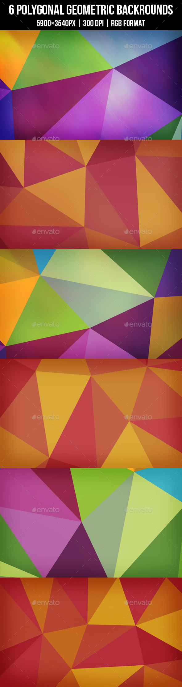 6 Polygonal Backgrounds