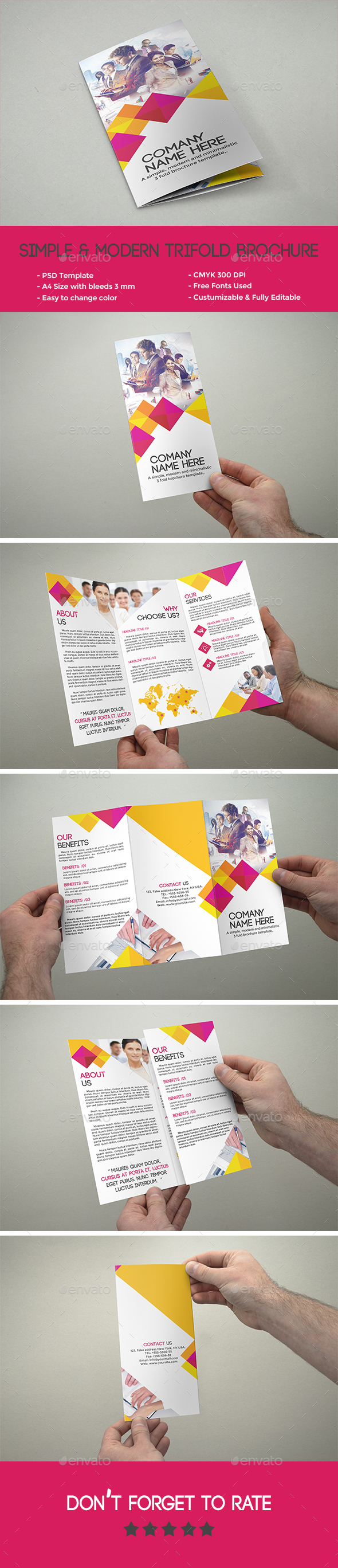 Simple & Modern Tri-fold Brochure - Corporate Brochures