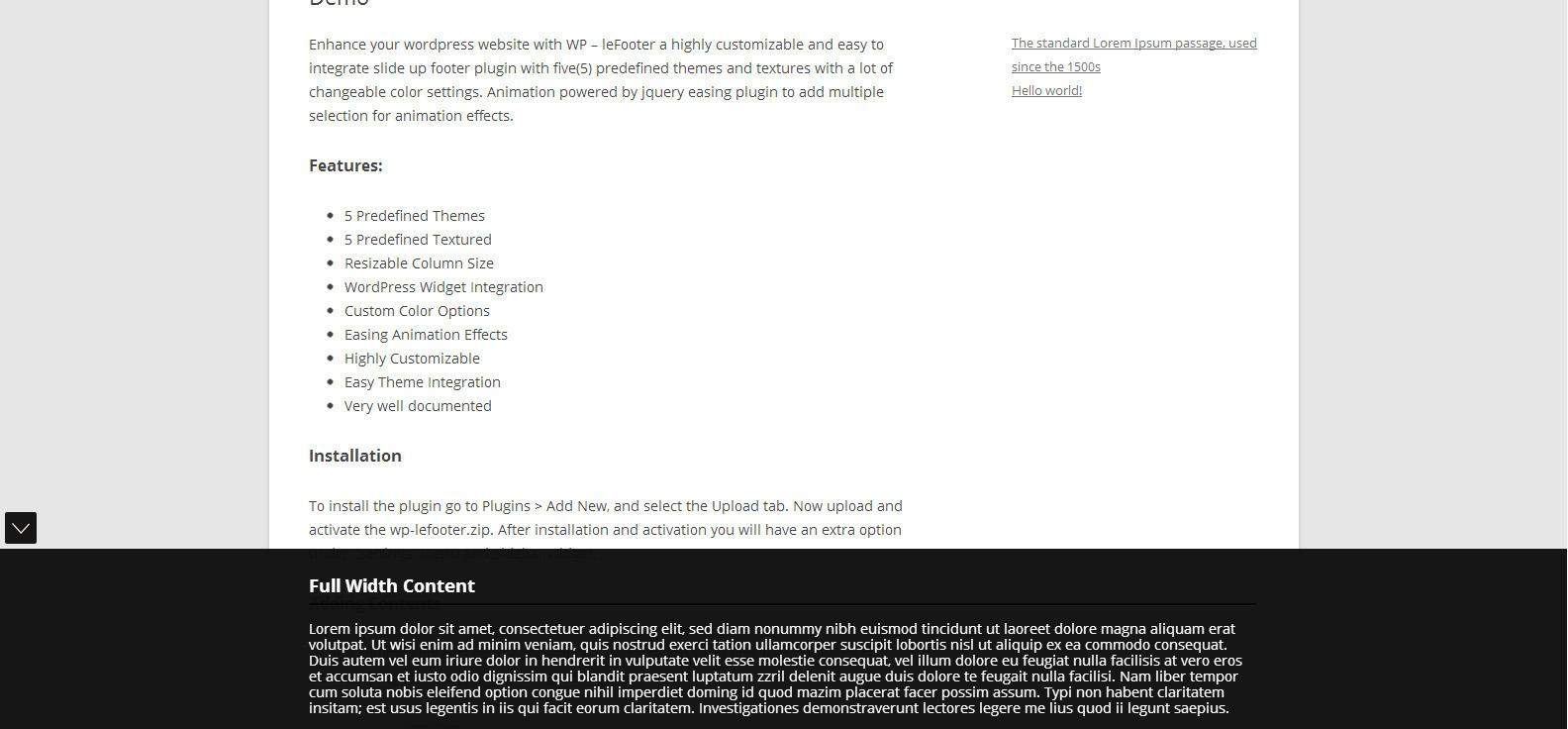 WP leFooter - WordPress SlideUp Footer Plugin
