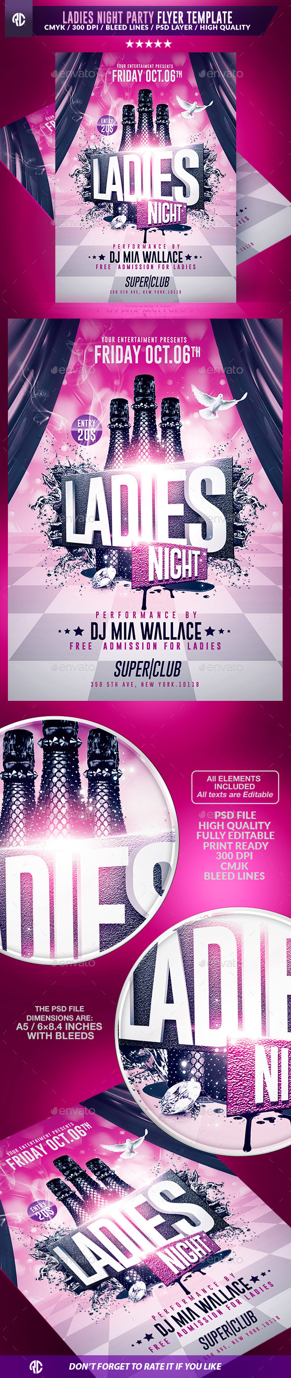 Ladies Night Party | Psd Flyer Templates - Clubs & Parties Events
