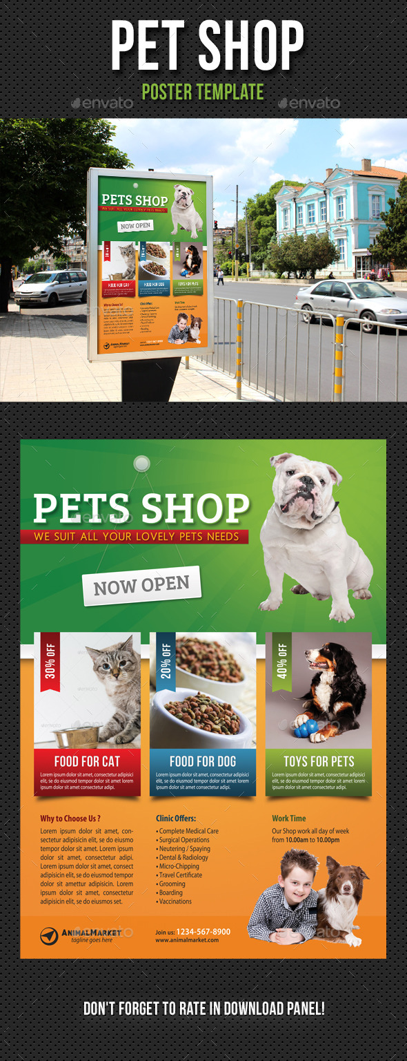 Pet Shop Poster Template - Signage Print Templates