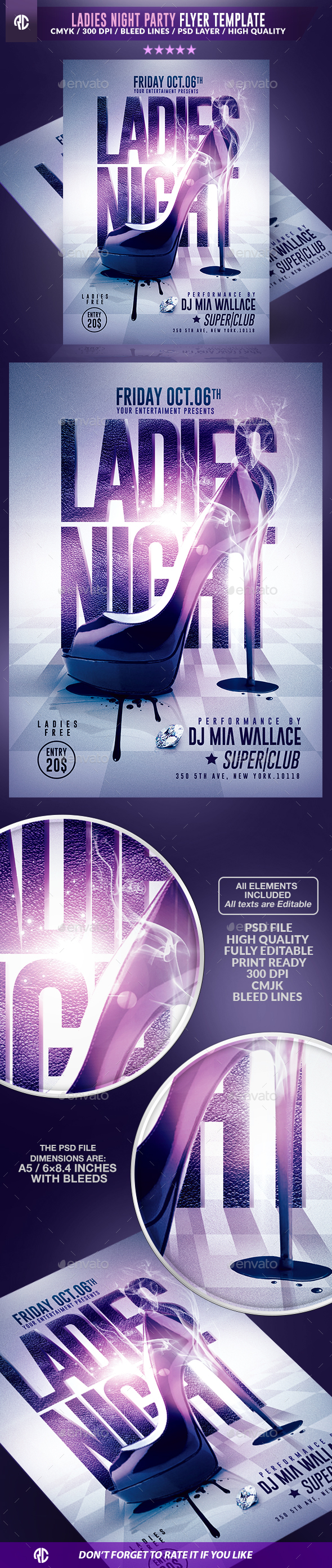 Ladies Night Party | Psd Flyer Template - Events Flyers