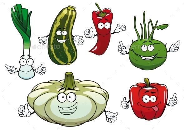 Pepper, Zucchini, Kohlrabi, Squash And Onion - Food Objects