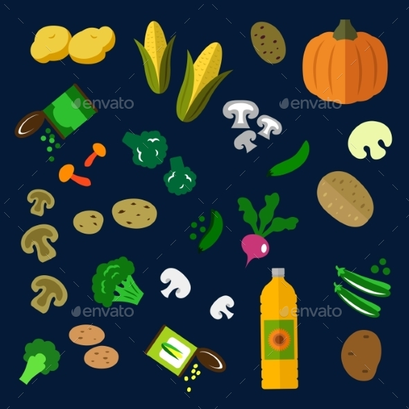 Flat Fresh And Canned Vegetables Icons - Food Objects
