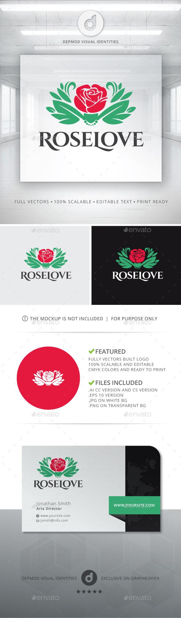 Rose Love Logo - Nature Logo Templates
