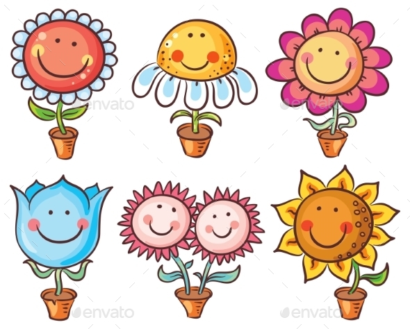 Flowers In Pots As Cartoon Characters With Faces
