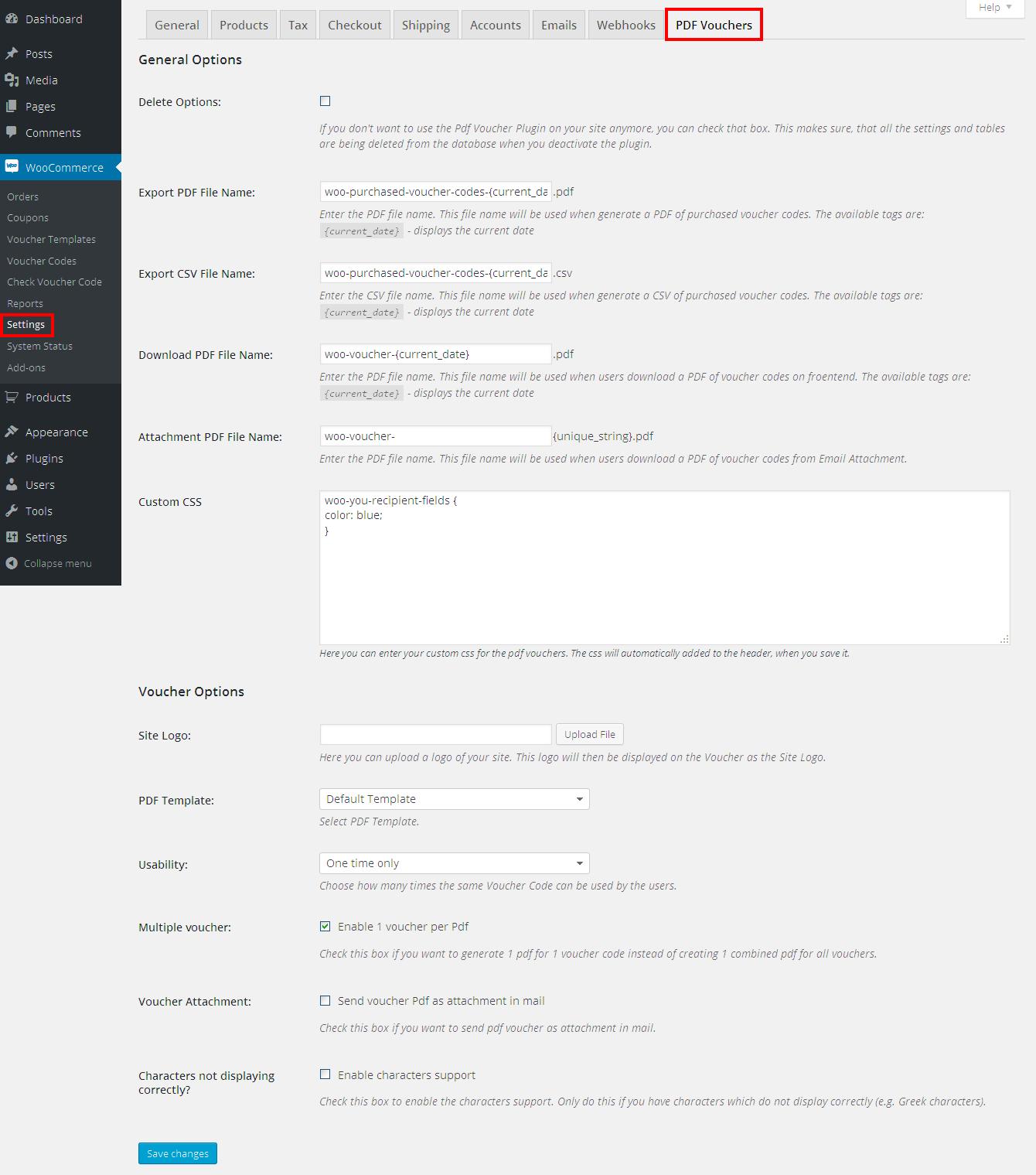 Woo merce PDF Vouchers WordPress Plugin by wpweb