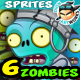 6 Zombie Characters Sprites Bundle Pack 91 - GraphicRiver Item for Sale