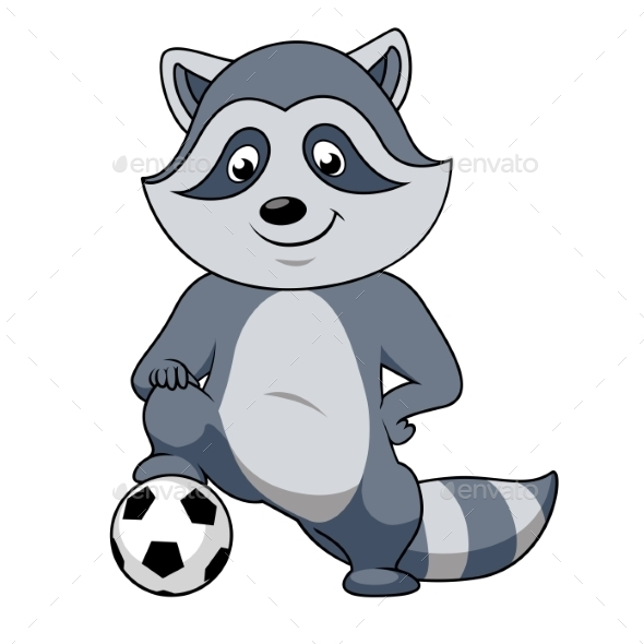 Cartoon Raccoon Player With Soccer Ball  - Sports/Activity Conceptual