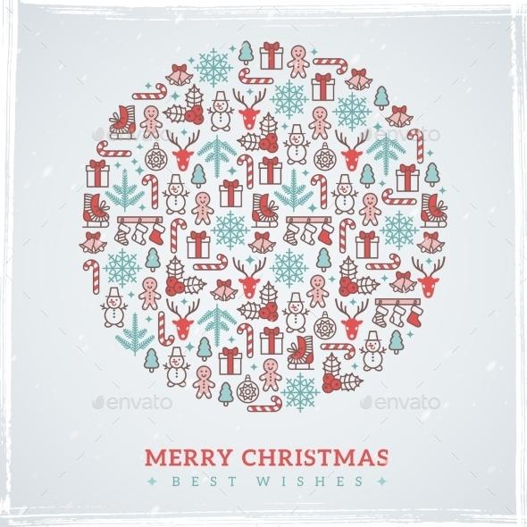 Vintage Christmas Elements Formed Circle. Vector - Christmas Seasons/Holidays