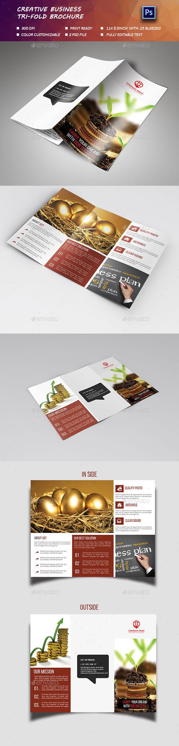 Creative Business Tri fold Brochure  - Brochures Print Templates