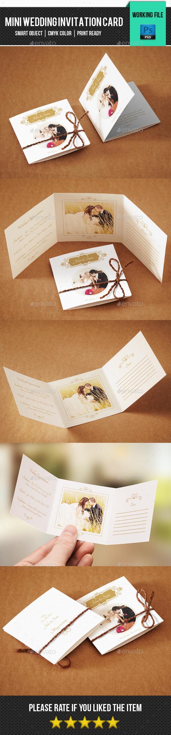 Wedding Mini Invitation Card-V01 - Greeting Cards Cards & Invites
