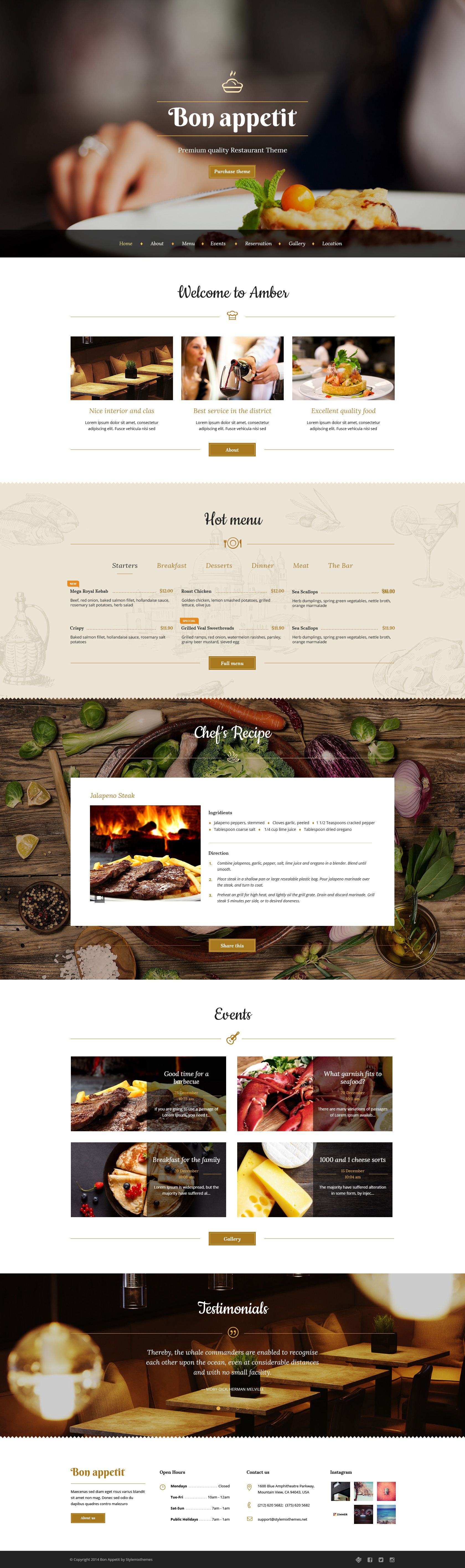PLantilla WordPress restaurante premium
