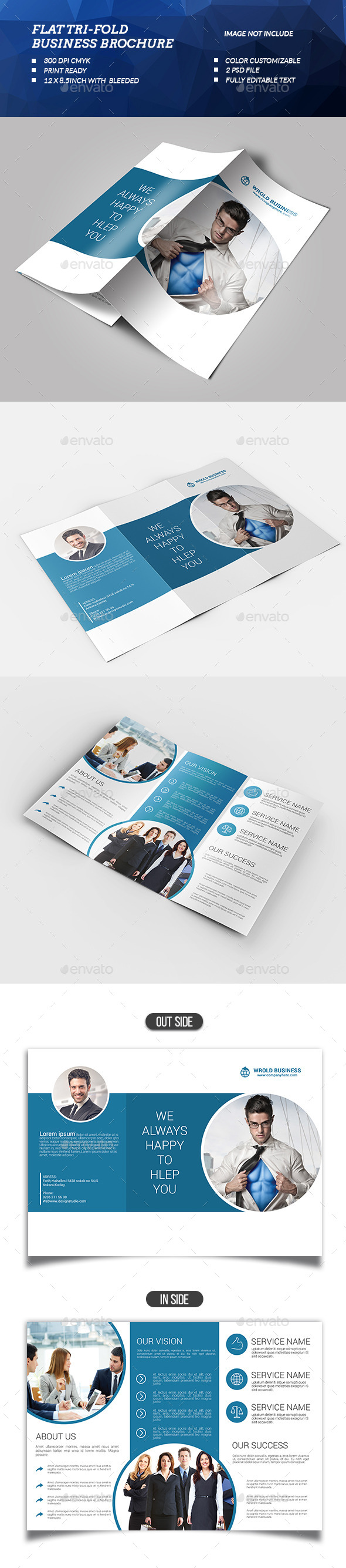 Flat Tri-fold Business Brochure - Brochures Print Templates