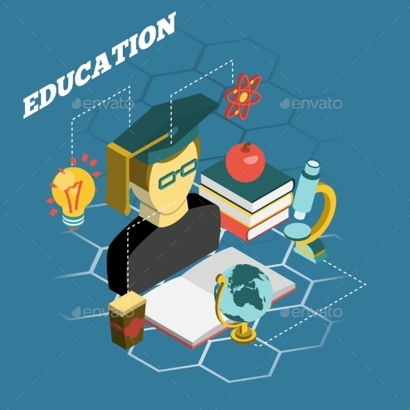 Education Reading Concept Isometric Banner - Miscellaneous Conceptual