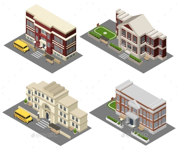 School Isometric Icons Set  - Buildings Objects