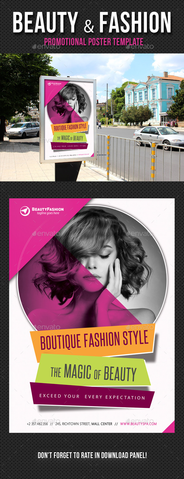 Beauty and Fashion Poster Template V02 - Signage Print Templates