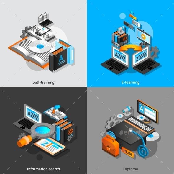 E-learning Isometric Set - Conceptual Vectors
