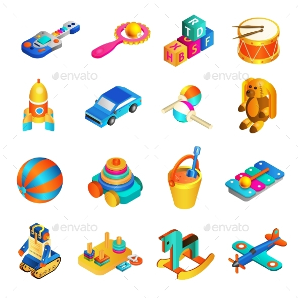 Toys Isometric Set - Objects Vectors