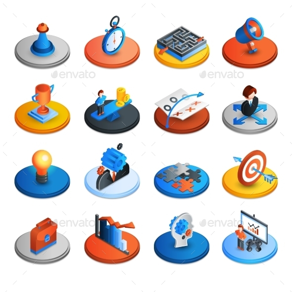 Business Strategy Isometric Icons - Icons