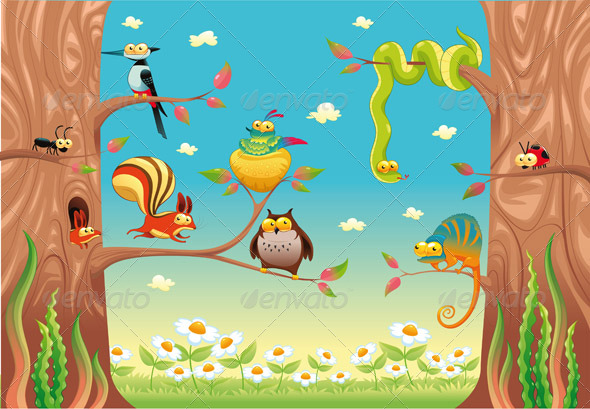Funny animals on branches. - Animals Characters