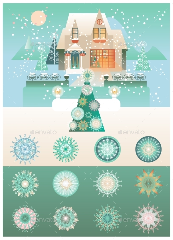 Christmas Vintage Design With Snowflakes Vector  - Christmas Seasons/Holidays