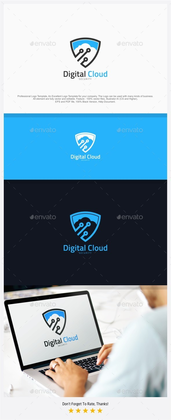 Digital Cloud Security Logo - Objects Logo Templates