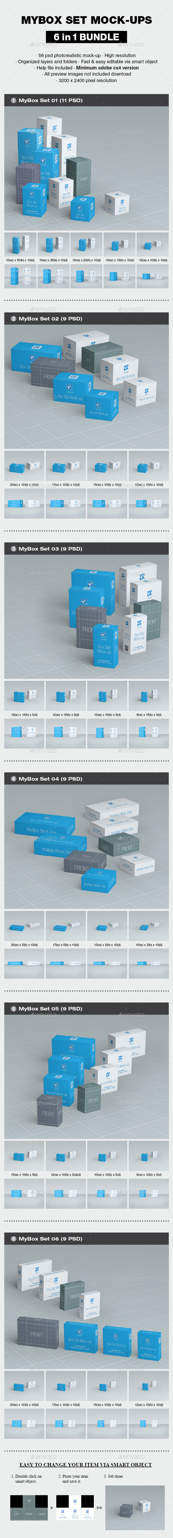 MyBox Set Mock-up Bundle - Packaging Product Mock-Ups