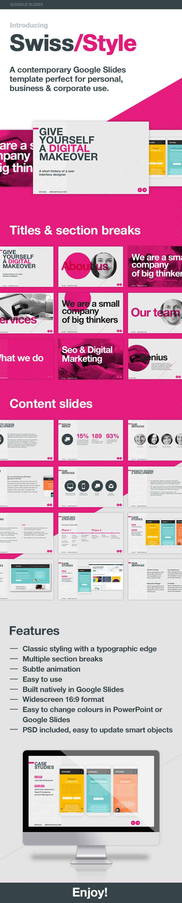 Swiss Style Google Slides Template - Google Slides Presentation Templates
