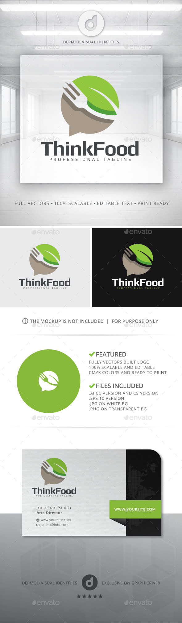 Think Food Logo - Food Logo Templates