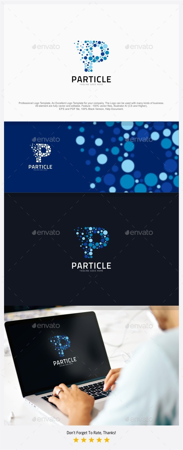 Particle Media - Letter P Logo - Abstract Logo Templates