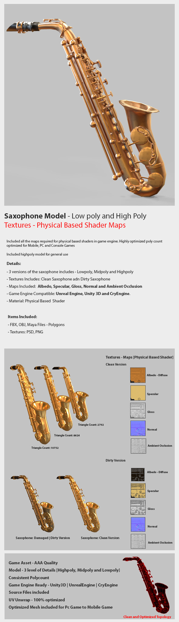Saxophone Game Model Low  poly and High poly  - 3DOcean Item for Sale
