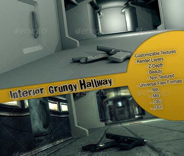 Interior: Grungy Hallway - 3DOcean Item for Sale