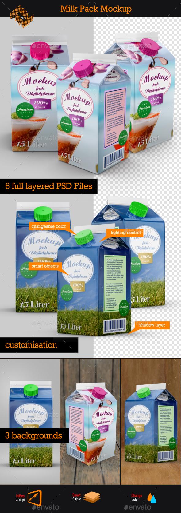 Milk Juice Pack Mockup - Food and Drink Packaging