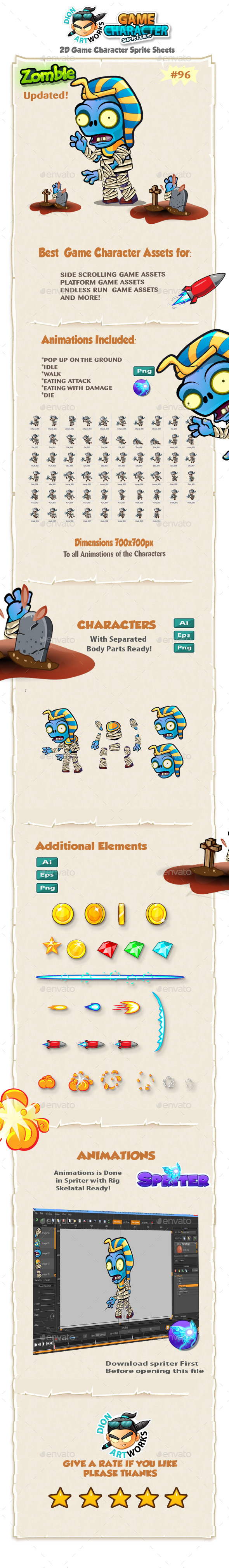 Zombie 2D Game Character Sprites 96 - Sprites Game Assets