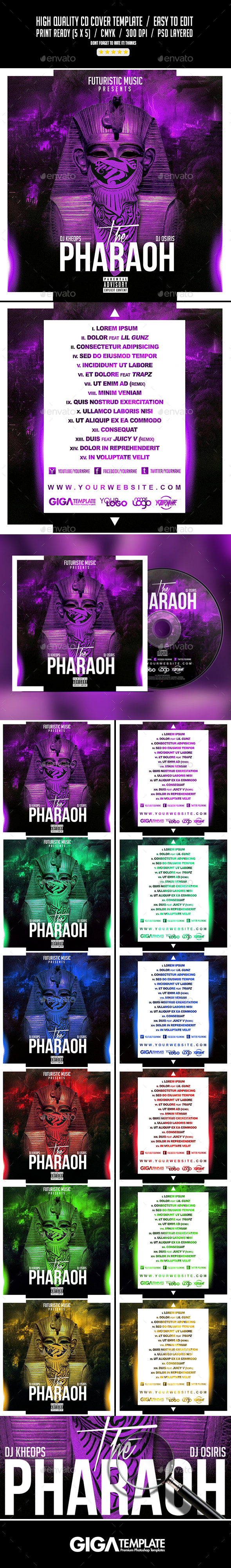 The Pharaoh | Mixtape Tape Album CD Cover Template - CD & DVD Artwork Print Templates