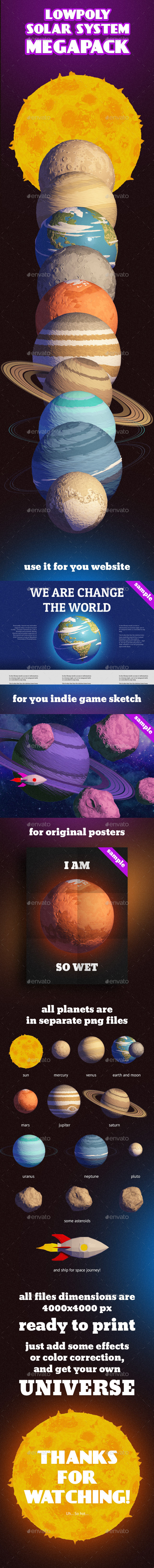 Solar System Low Poly Pack - Objects 3D Renders