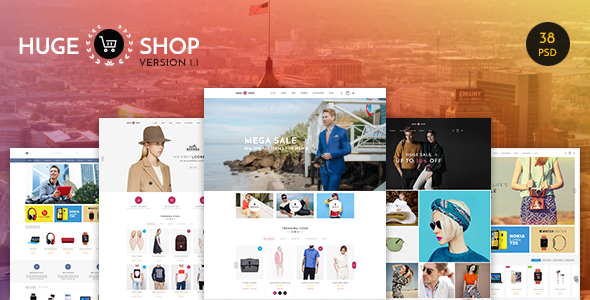 HUGESHOP - Wonderful Multi Concept eCommerce PSD Template - Shopping Retail