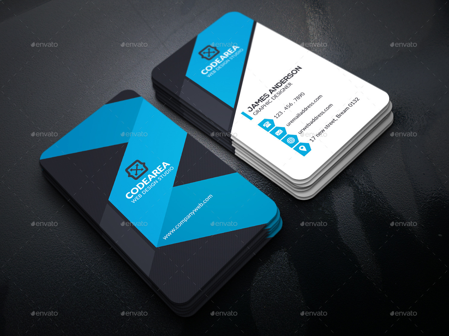 Shape Corporate Business Cards by UXcred | GraphicRiver